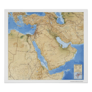 Middle East Map 1993 Poster