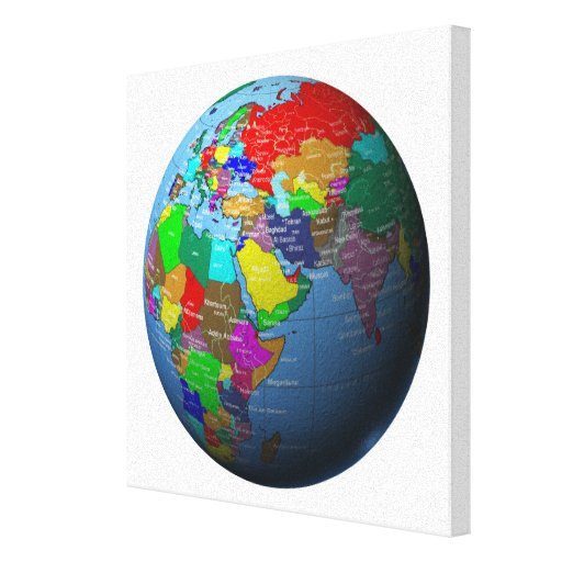 Middle East on Globe Stretched Canvas Print
