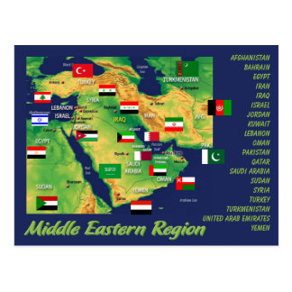 Middle- Eastern countries geographic map with flag Postcard