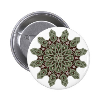 Middle eastern floral pattern motif pinback buttons