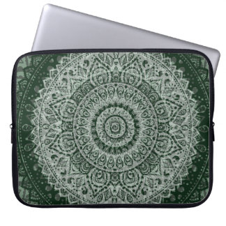 Middle eastern green hippy pattern laptop sleeve
