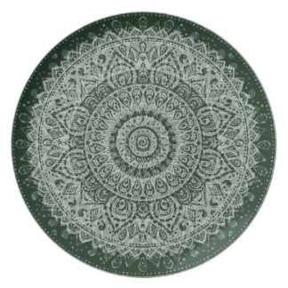 Middle eastern green hippy pattern plate