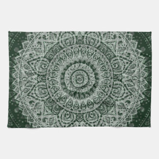 Middle eastern green hippy pattern towel