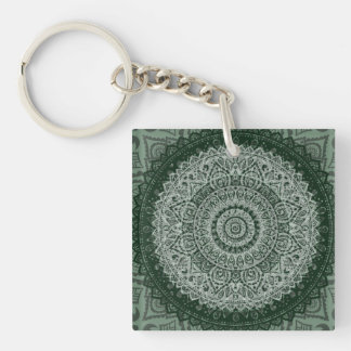 Middle Eastern Green Pattern Double-Sided Square Acrylic Key Ring