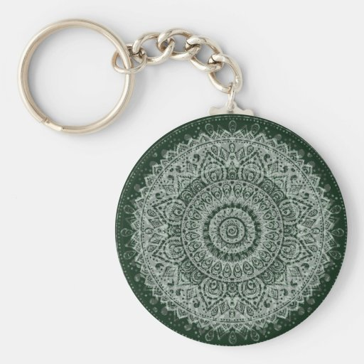 Middle Eastern Green Pattern Key Chains