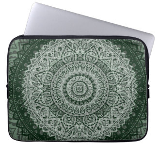 Middle Eastern Green Pattern Laptop Sleeve