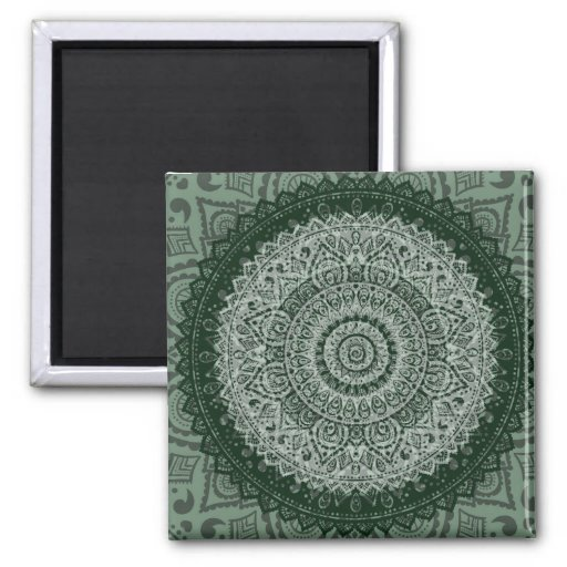 Middle Eastern Green Pattern Fridge Magnets