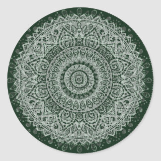 Middle Eastern Green Pattern Round Sticker