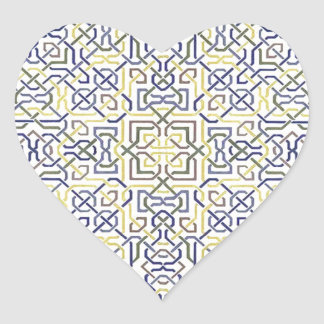 Middle Eastern Tile Pattern in Blue and Yellow Heart Sticker
