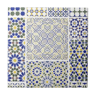 Middle Eastern Tile Patterns in Blue and Yellow