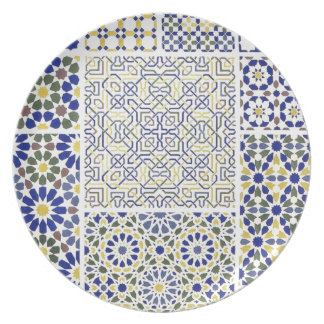 Middle Eastern Tile Patterns in Blue and Yellow Dinner Plate