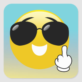 Middle Finger & Sunglasses Emoji Ombre Stickers