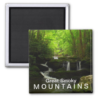 Middle Prong Tremont Cascade Waterfall Square Magnet