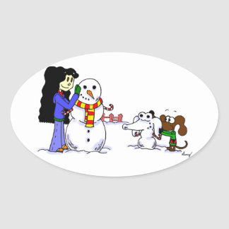Midge Playing in Snow Stickers - Customize