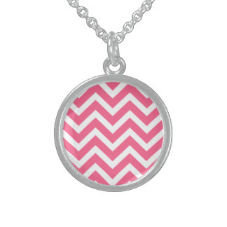 Midi Pink and White Chevron ZigZag Sterling Silver Necklaces