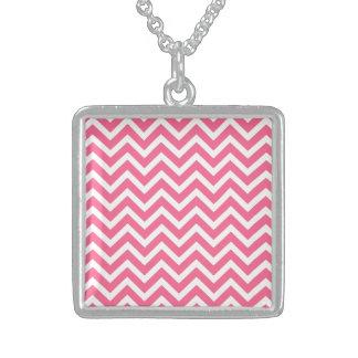 Midi Pink and White Chevron ZigZag Necklace
