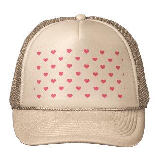 Midi Pink Polkadot Candy Hearts on White Trucker Hat