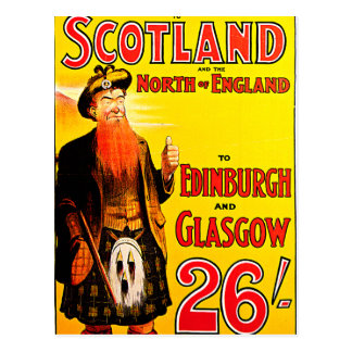 Midland Railway Scotland Bagpipe Kilt Travel Art Postcard