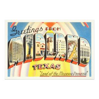 Midland Texas TX Old Vintage Travel Souvenir Photo Art