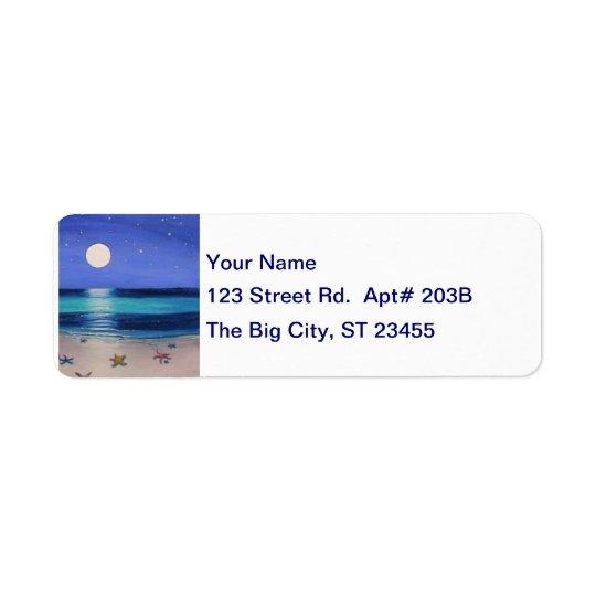 Midnight Beach Address Lable Return Address Label