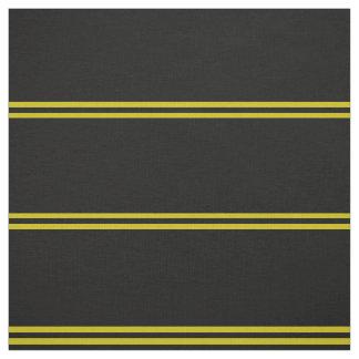Midnight black, gold striped design fabric