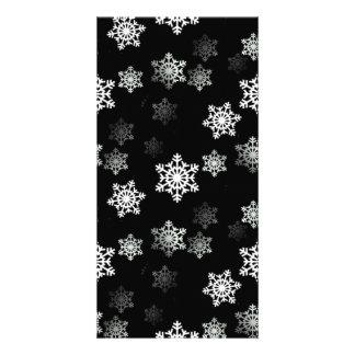 Midnight Black Snow Flake Flurries Customised Photo Card