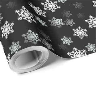 Midnight Black Snow Flake Flurries Wrapping Paper