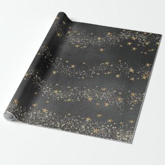 Midnight Black Starry Night Sky Gift Wrap Paper