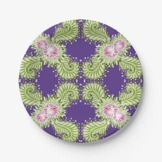 Midnight bloom paper plate