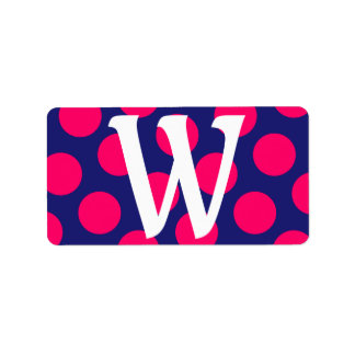 Midnight Blue and Bright Pink Dot Monogram Address Label