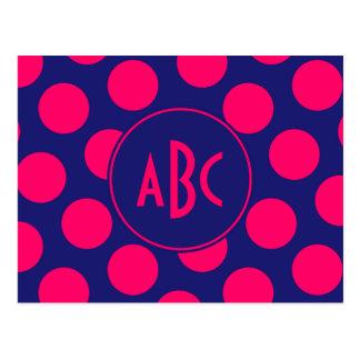 Midnight Blue and Bright Pink Dot Monogram Postcard