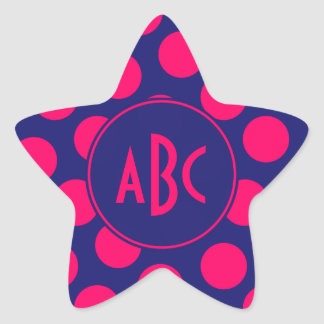 Midnight Blue and Bright Pink Dot Monogram Star Sticker