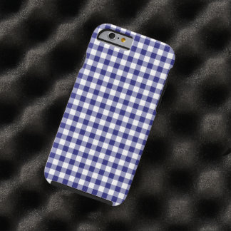 Midnight Blue and White checked Gingham Pattern Tough iPhone 6 Case
