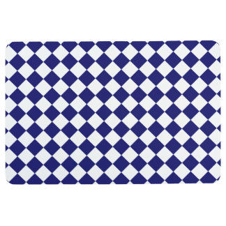 Midnight Blue and White Chequerboard Floor Mat