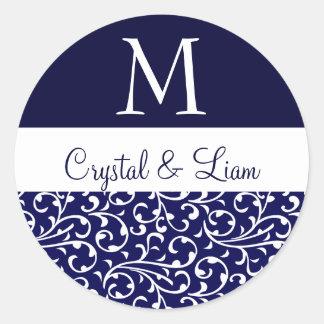 MIDNIGHT BLUE and WHITE Damask Wedding Monogram Round Sticker