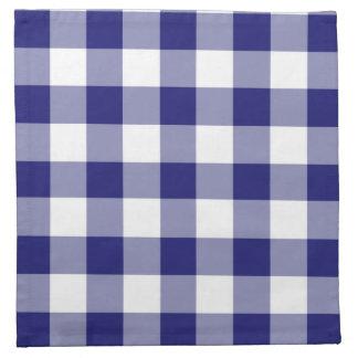 Midnight Blue And White Gingham Checks Pattern Napkin