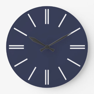 Midnight Blue and White Lines Wall Clock