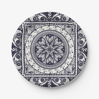 Midnight Blue and White Mandala Paper Plate