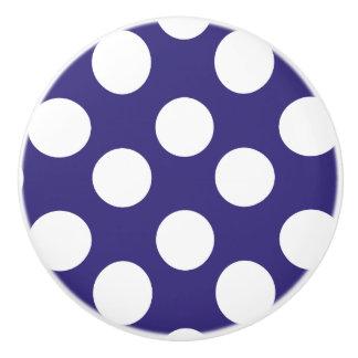 Midnight Blue and White Polka Dot Furniture Knob