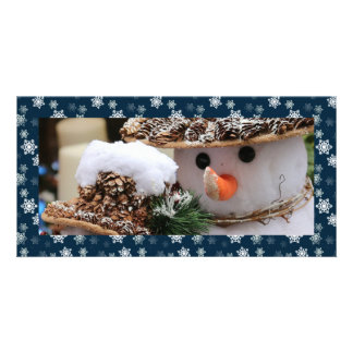 Midnight Blue and White Snow Flurries Custom Custom Photo Card