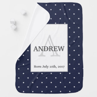 Midnight Blue and White Stars pattern Monogrammed Baby Blanket