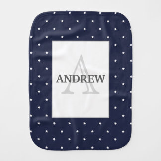 Midnight Blue and White Stars pattern monogrammed Burp Cloth
