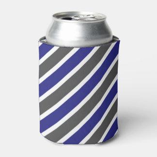 Midnight Blue & Dark Gray Stripes Can Cooler