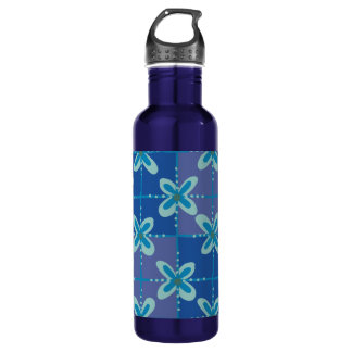 Midnight blue floral batik seamless pattern 710 ml water bottle