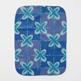 Midnight blue floral batik seamless pattern burp cloth