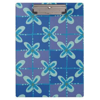 Midnight blue floral batik seamless pattern clipboard