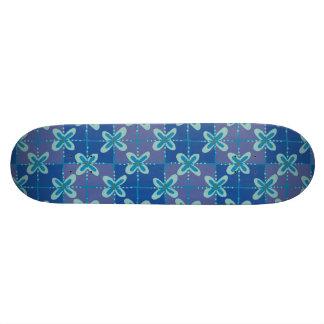 Midnight blue floral batik seamless pattern custom skateboard