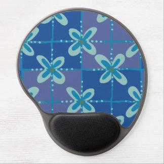 Midnight blue floral batik seamless pattern gel mouse pad