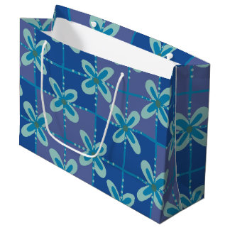 Midnight blue floral batik seamless pattern large gift bag