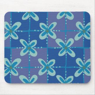 Midnight blue floral batik seamless pattern mouse pad